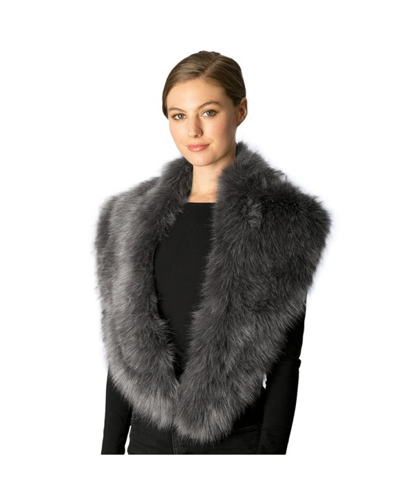 Fashion 21 Women's Luxury Faux Fur Fashion Trendy Warm Long Scarf Shawl Wrap - With Slit - Grey - CJ185QERG6T
