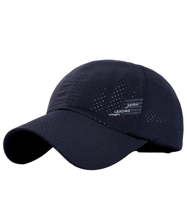 Womens Mens Breathable Running Golf Tennis Travel Baesball Quick-dry Sun Cap Hat - Dark Blue - CJ183GQRUMK