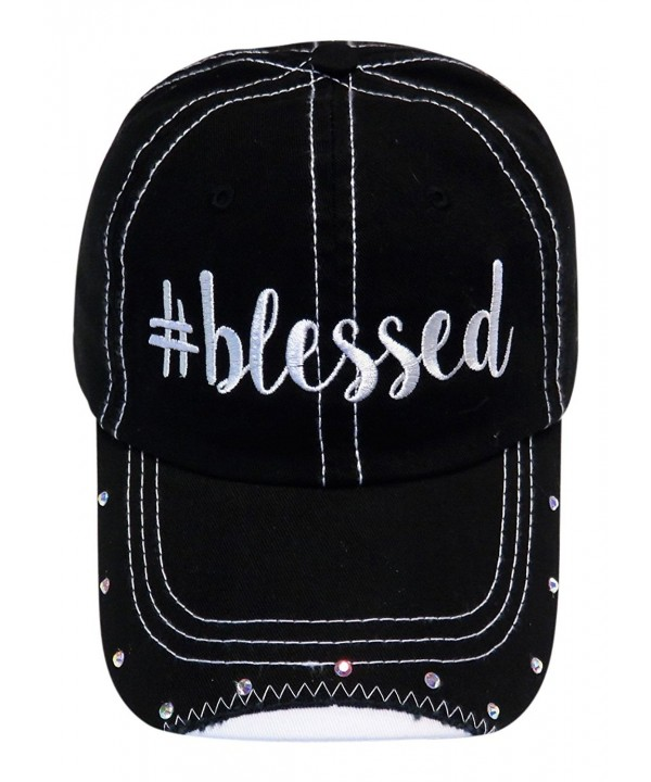 Spirit Caps Embroidered Blessed Black Torn bill Look Cap Hat W/Stones - CJ1855ZY0UL