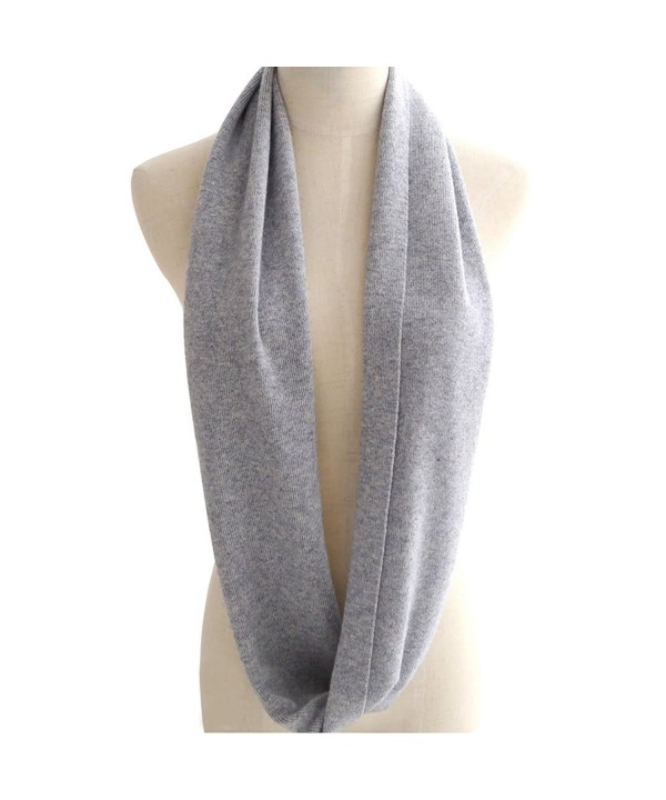LerBen Womens Mens Soft Cashmere Solid Infinity Scarf - Gray - CZ12I31O01T