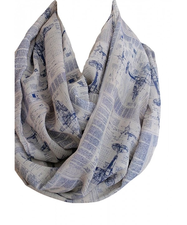 Etwoa's Airplane Themed Infinity Scarf Blue Print Scarf Circle Scarf - CP12N8VVKDX