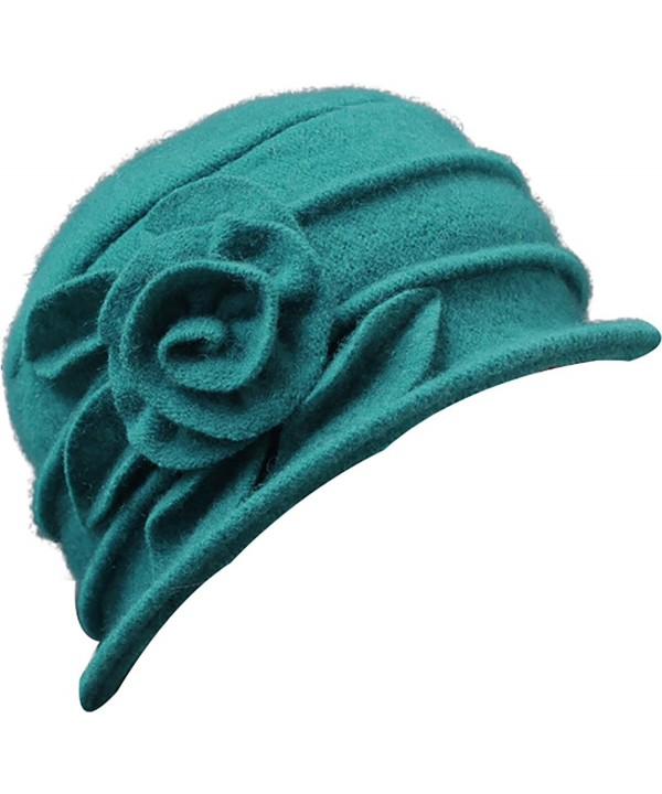 Ababalaya Women's 1920s Vintage 100% Wool Flower Cloche Bucket Bowler Hat Derby Hat - Turquoise - CW1895DYSYL