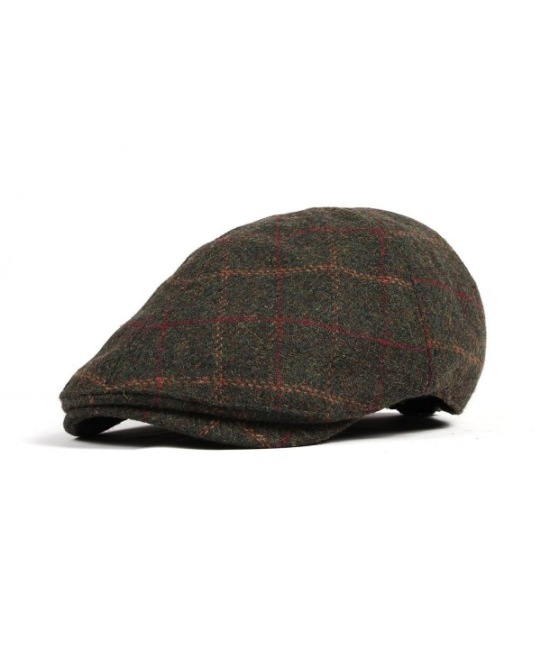 WITHMOONS Wool Newsboy Hat Flat Cap SL3022 - Green - C511QE8T145