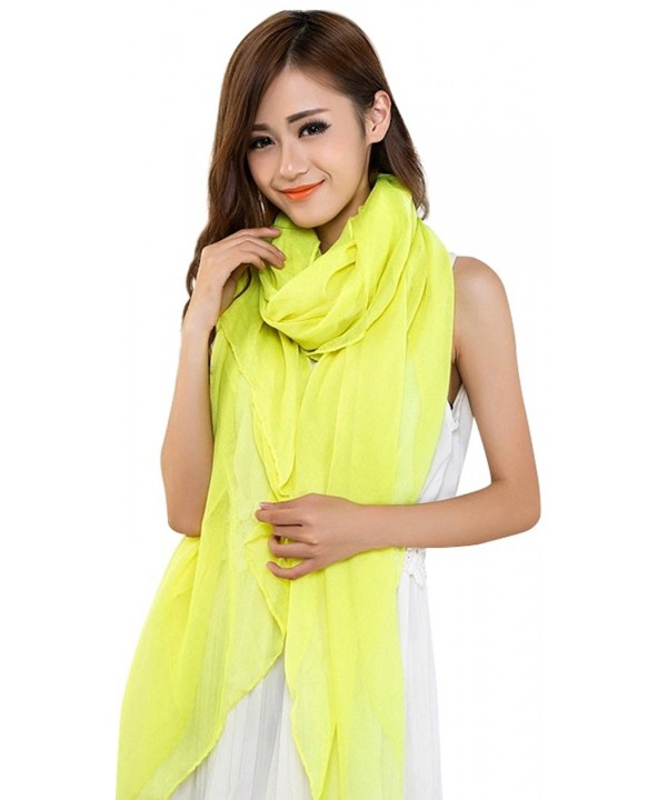 Large Size Fashion Voile Design Shawl Pashmina Scarf Wrap Stole Throw CJ Apparel NEW - Yellow - CJ11QFD5ZSF