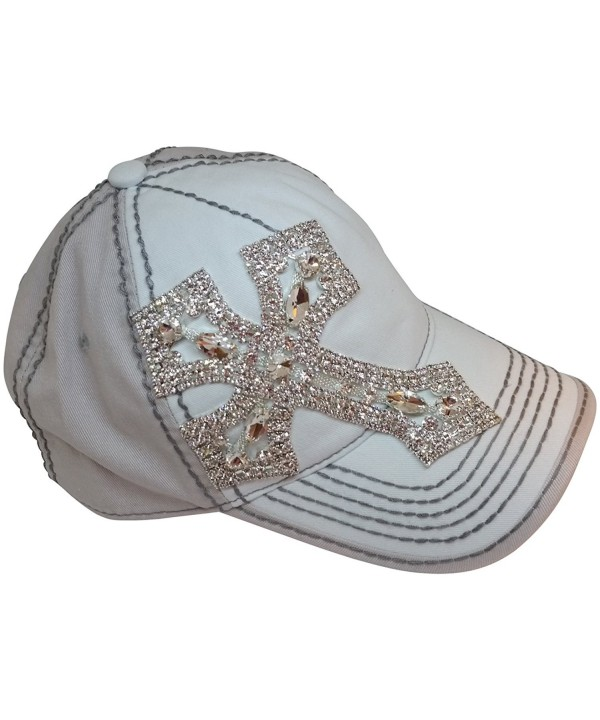 Olive & Pique Women's Rhinestone Cross Bling Baseball Cap - Ivory/Beige/Grey - C217Y0XU3MR