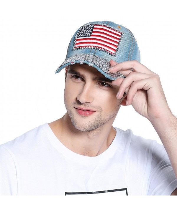 Bienvenu American Flag Rhinestone Jeans Denim Baseball Adjustable Baseball Cap Hat - Blue - CK11ZVBUW2V