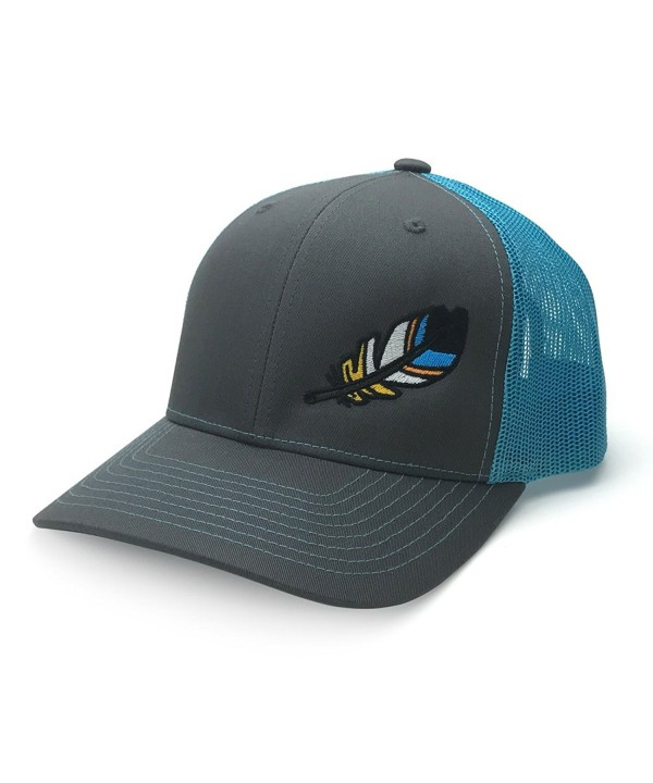 WUE The Outdoors Spirit Feather Trucker Hat - Charcoal/Neon Blue - CJ18703LIE3