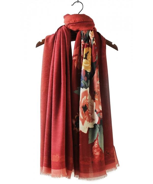 Cindy & Wendy Womens Large Soft Cashmere Feel Pashmina Shawls Wraps Winter Scarf (DBH-RED) - CM188QZD9HI