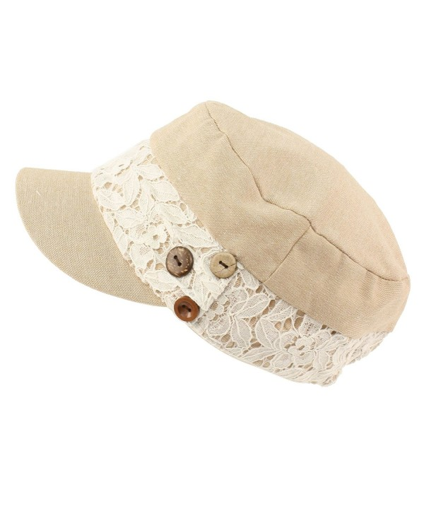 Ladies Cool Summer Pretty Lace Button Cadet Castro GI Military Cap Hat Beige - CA11VHC2NPH