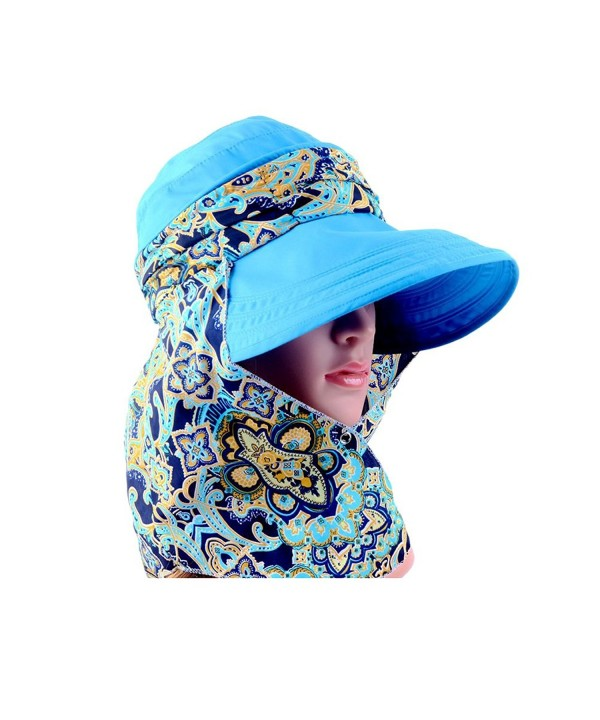 Wide Brim Visor Foldable UV Protection Sun Hat Outdoor Flap Hat for Women - blue - CT17AZUM5MD