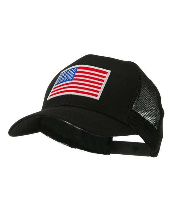 6 Panel Mesh American Flag White Patch Cap - Black OSFM - C011E8U8E9J