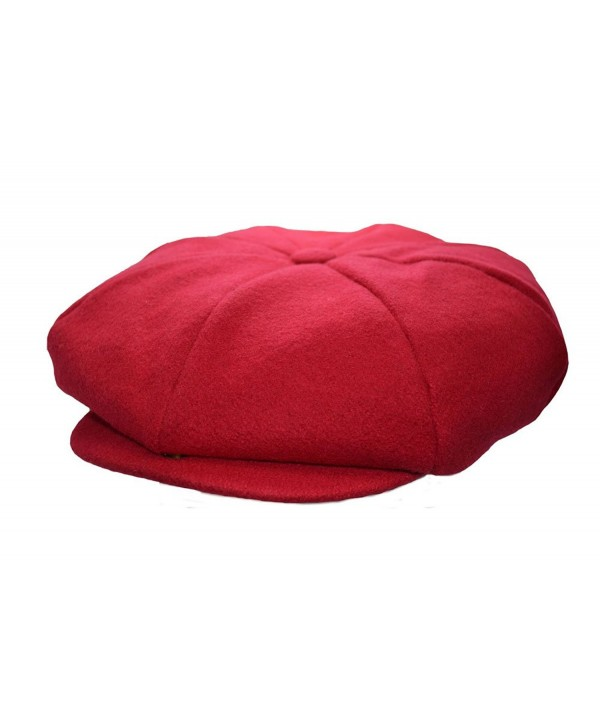 Emstate Mens Melton Wool 8 Panel Applejack newsboy Baker Boy Cap Made In USA Various Colors - Red - C71267ZUPM1