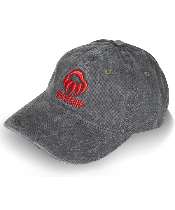 Wolverine Men's Curved Brim Baseball Cap - Gray/Red - CC17YI7MQ2M