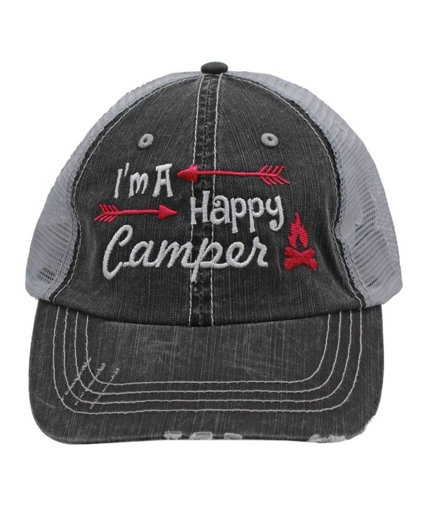 Hot Pink I'm am A Happy Camper Women Embroidered Trucker Style Cap Hat Rocks any Outfit - C91838UK5SM