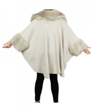 Luxurious Trimmed Front Asymmetrical Beige in Wraps & Pashminas