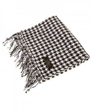 SilverHooks Soft & Warm Pattern Cashmere Scarf w/ Gift Box - Black/White Houndstooth - C511DMZJAO3