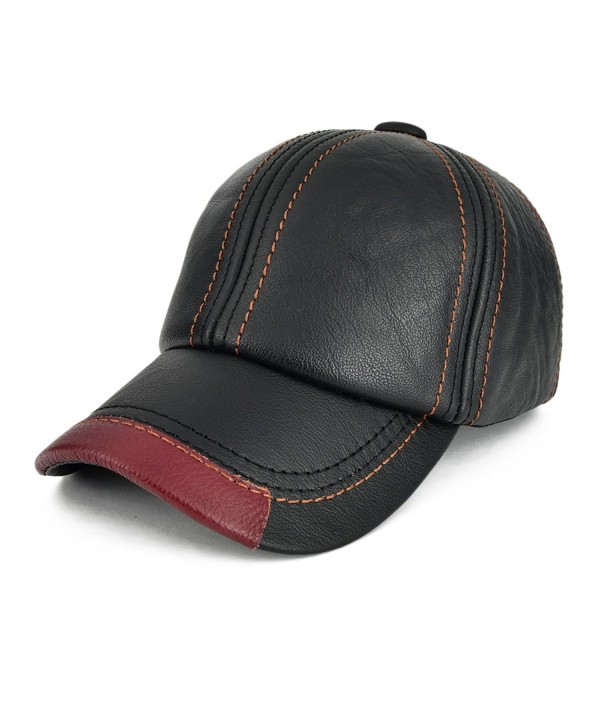 VOBOOM Cool Baseball Cap Adjustable Cowhide Leather Ball Cap Hat 119 - Black - C117YY2LL5Q