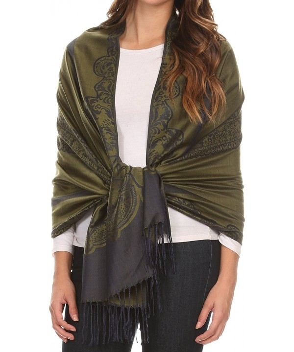 Sakkas Maela Long Extra Wide Traditional Patterned Fringe Pashmina Shawl / Scarve - Green Navy - C812LN81LCF