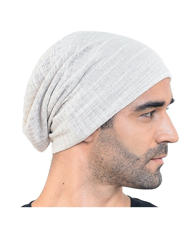 Men Slouch Hollow Beanie Thin Summer Cap Skullcap B018h - Cream - CT121EHGVRZ