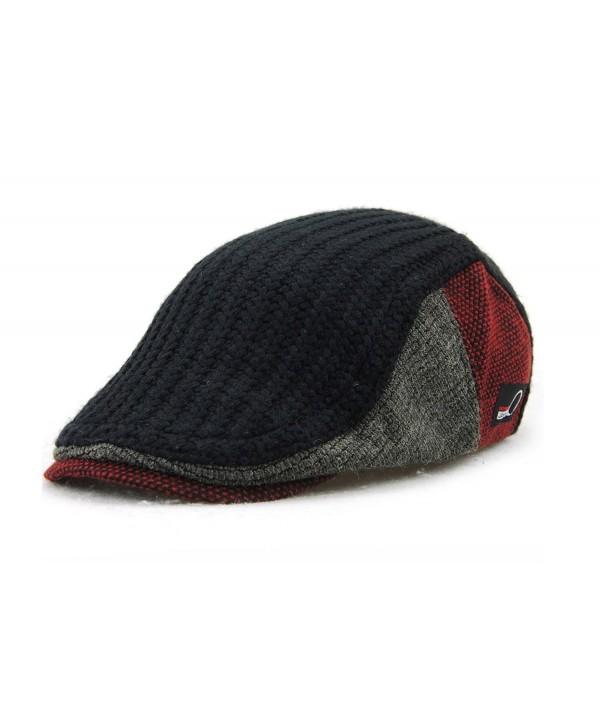 YCHY Men's Knitted Wool duckbill Hat Warm Newsboy Flat Scally Cap - Black - CQ12LSMVZB3