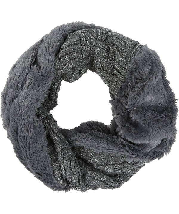 Sakkas Dalien Short Length Two Sided Faux Fur Ribbed Cable Knit Infinity Scarf - Grey - CW12MX8MN1F