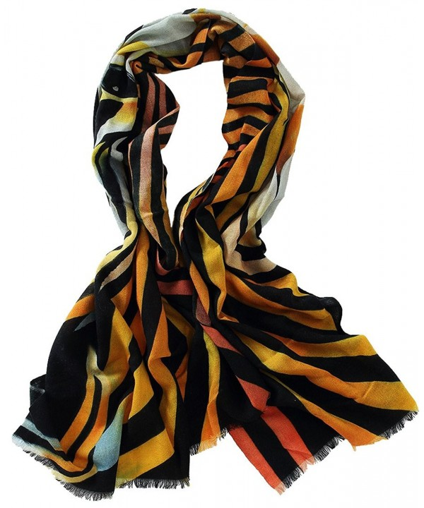 Veniroc Women Cashmere Scarf Hand Painted Artistic Scarves Lightweight Shawl Wraps - Stripe - CV12NGC2EV5