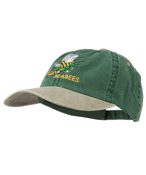 Navy Seabees Symbol Embroidered Dyed Two Tone Cap - Spruce Khaki - C911QLM9MHZ