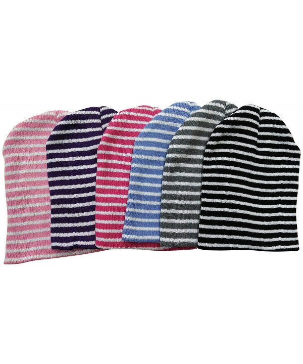 6 Hats excell Women's Fashion Striped Winter Beanie Hats - CY11N2AYW6T