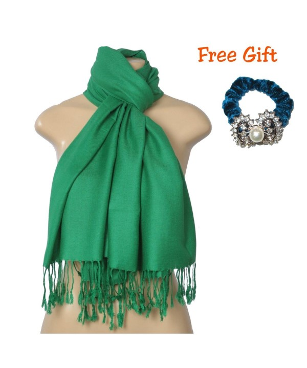 "Elegant Pashmina Silk Blend Soft Wrap Scarf Shawl For Women - Solid Colors "" FREE GIFT "" - Dark Green - C21852EWYG8"