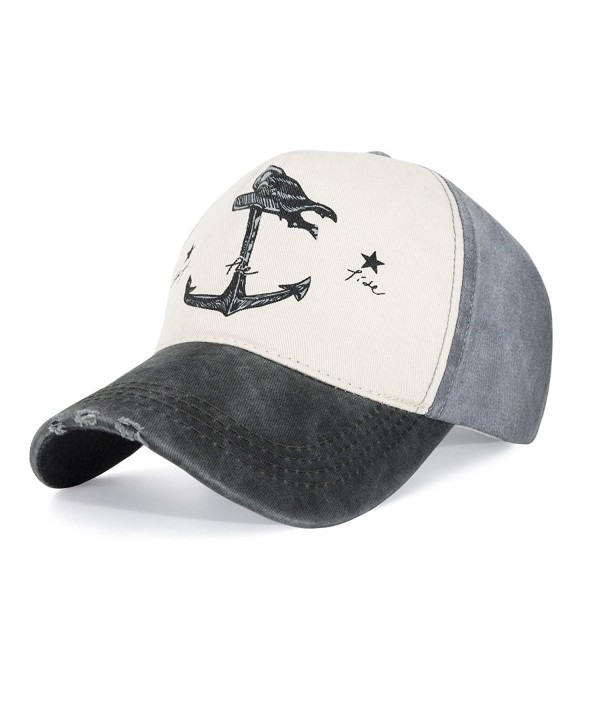CHOSUR Vintage Style Baseball Cap Pirate Ship Anchor Printing Adjustable Youth Cap For Girls and Boys - Blackbrim - CJ180EK3W4M