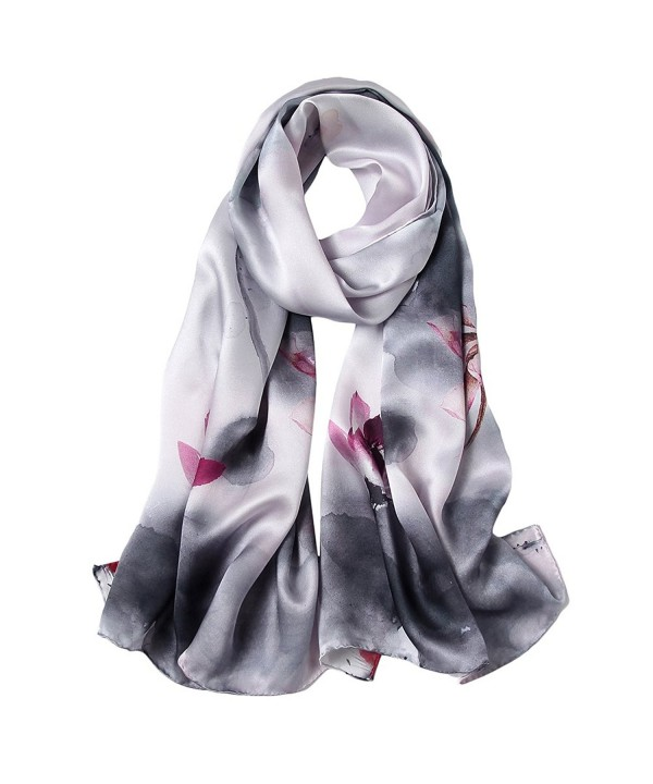 STORY OF SHANGHAI Womens Luxury Silk Satin Scarf Ladies Floral Shawl Wraps - 6 - CE186QC600D