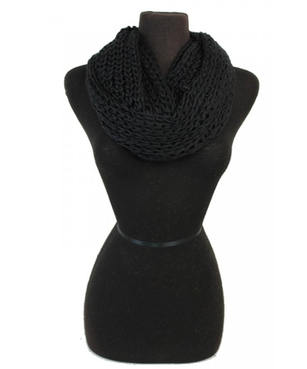 Women Crochet Softness Infinity Scarf Wrap for Winter - Black - C71281XXLCD
