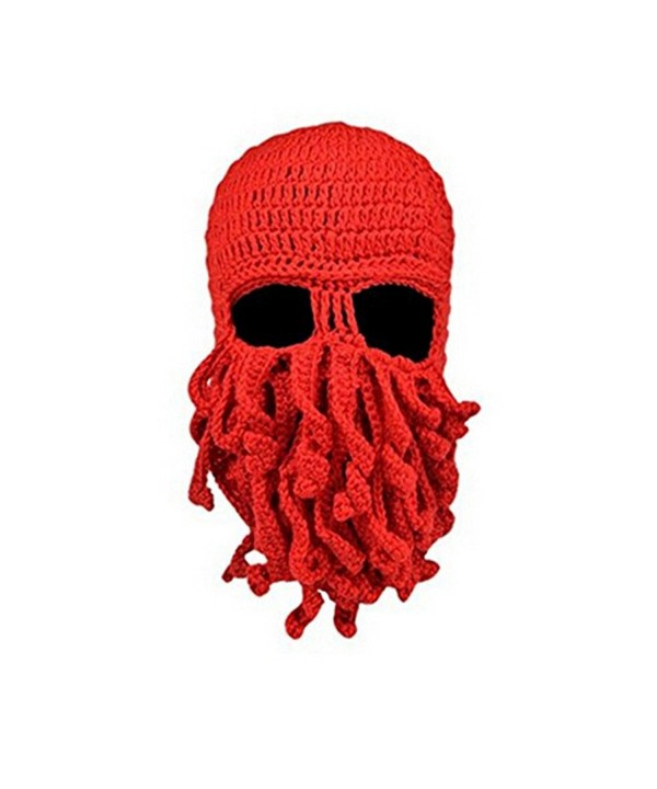 Fan008 Windproof Warm Knitted Beanie Hat Cap Funny Tentacle Octopus Ski Face Mask - Red - CH12NDZCRCS