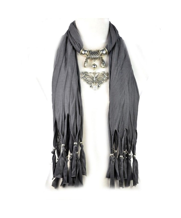 Huan Xun Vintage Butterfly Pendant Jewery Necklace Scarfs - M Dark Grey - CO11PQA6135