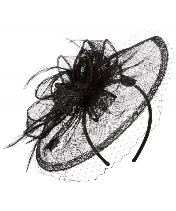 San Diego Hat Company Women's Fasninator Hat with Curled Bow and Feathers - Black - CA126VCLAT1