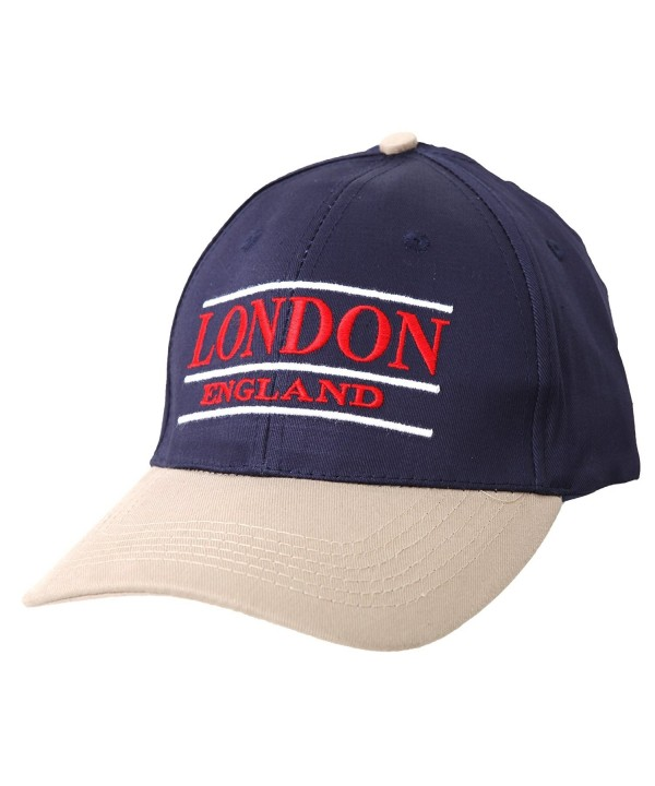 London England Embroidered Baseball Cap (Blue Beige) - Navy/Beige/Red/White - CO116MAR245