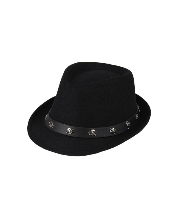 Dantiya Mens Roll Brim Wool Felt Jazz Hat Cap with Skull Belt - Black - CV12NG0RMZZ