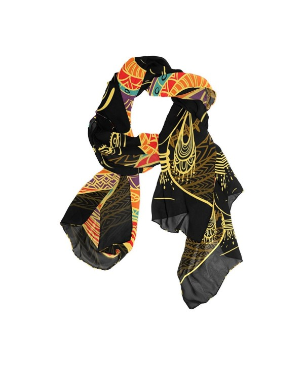DEYYA Women's Silk Scarf Scarves African Art Women Beach Sunscreen Shawl Wraps - C0187EAAA2G
