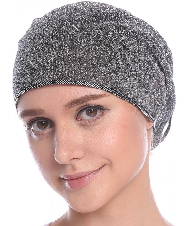 Ababalaya Women's Elegant Strench Gold Glitter Flower Muslim Turban Chemo Cap - Silver - CM17Z7CO5G9