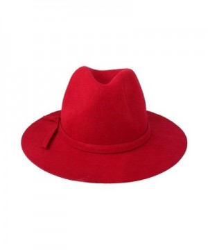 ACVIP Women Wool Fedora Solid - Red - C211Q753AA9