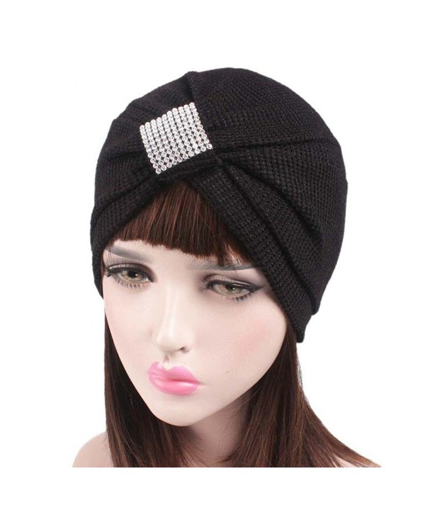 Qingfan Women Crochet Solid Pre Tied Warm Cancer Chemo Hat Beanie Turban Stretch Head Wrap Cap - Black - C218646SHKO