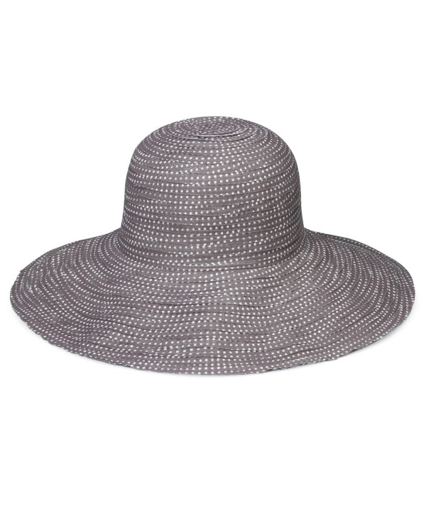 wallaroo Women's Petite Scrunchie Sun Hat - UPF 50+ - Crushable - Grey/White Dots - CN12O3XC66C