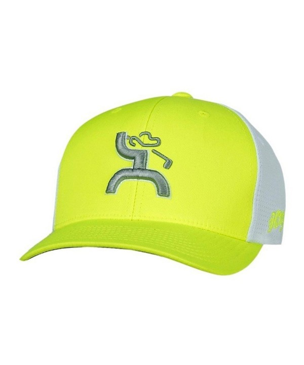 Hooey Hat 'Trap' Golf Hat-Neon Green/White FlexFit - C812EBYDL5D