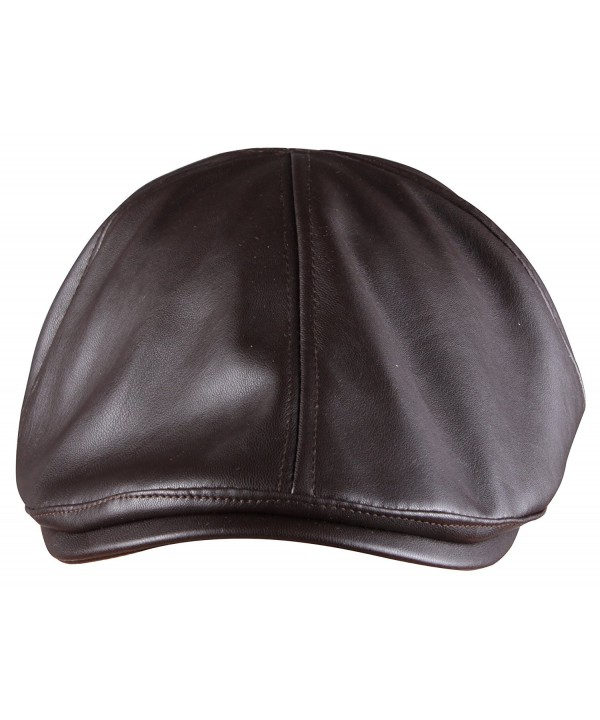 ORSKY PU leather Newsboy Cap for Men Flat Hat Cabby Cap Driving Cap Gatsby Cap - Brown - CZ12NAAAC04