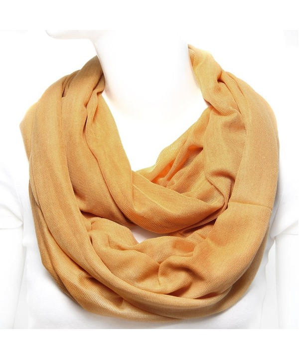 Scarfand Super Soft Knit Solid Infinity Scarf - Mustard - CY11BSNX8NL
