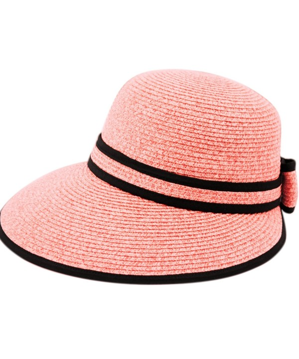 Straw Packable Sun Hat with Black Sash- Wide Front Brim and Smaller Back - A Pink - CF182HDXQH2