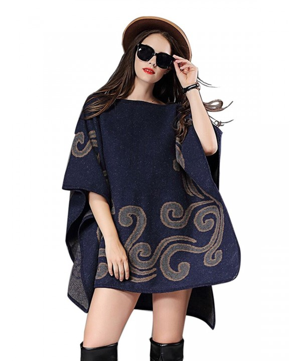 Saikey Womes Poncho Shawl Wraps Pullovers Jacquard Cape Plus Size Sweater Batwing Coat Cloak - Navy Blue - CX12N2SUSP5