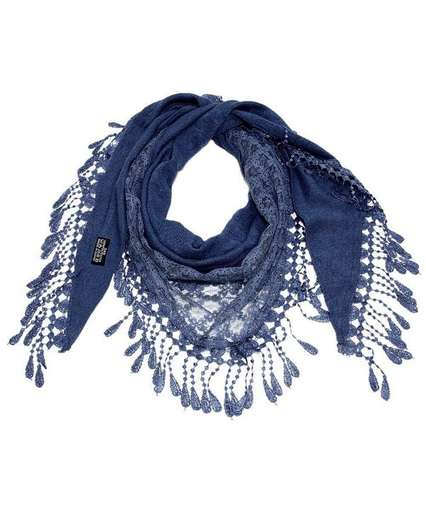 "Falari Women Lace Scarf Triangle With Fringes Polyester 70"" x 22"" - Navy - CT17YH49N08"