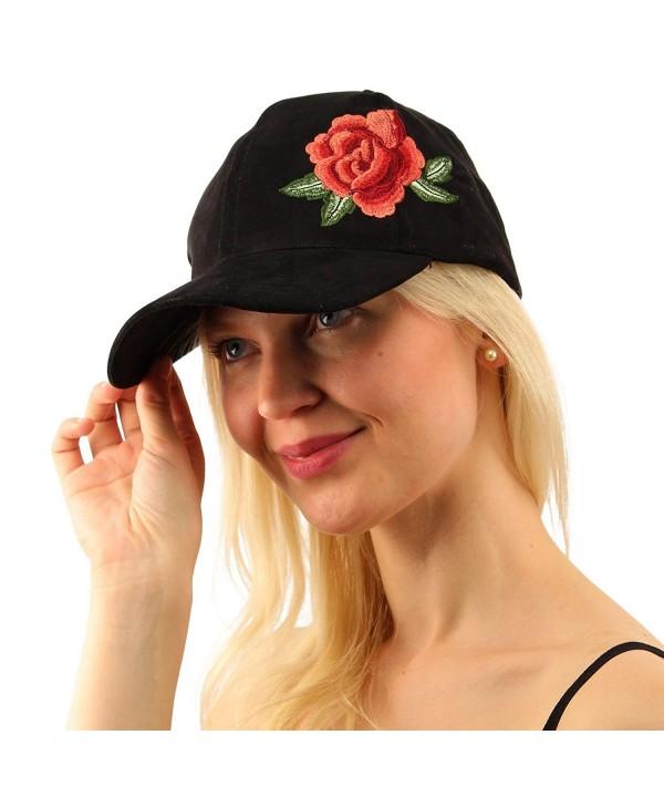 Rose Floral Embroidery Velvet Plain Blank Baseball Sun Visor Cap Dad Hat - Black - C717YWSKCNE