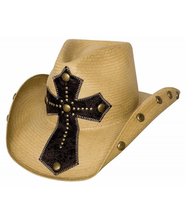 "Bullhide ""No Mercy"" Panama Straw Western Hat with Leather Cross and Studded Brim - Pecan - CR116PAXMY1"